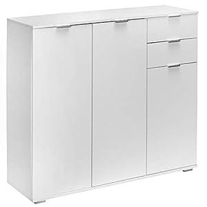 Commode »Alba« avec 3 Portes tiroirs Blanc Meuble de Rangement Buffet Type DB161
