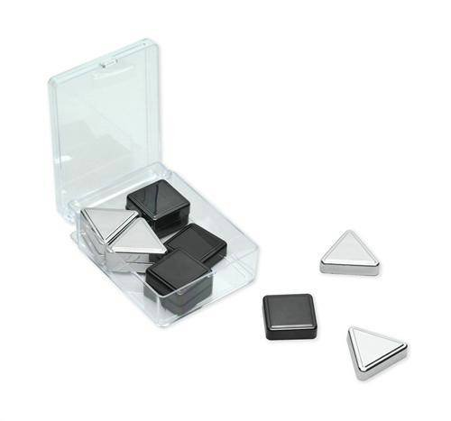 Triangle Shape Magnet - Quartet Magnets, Metallic, Includes Squares & Triangles, Silver/Graphite, 12 Magnets per Pack (1250)
