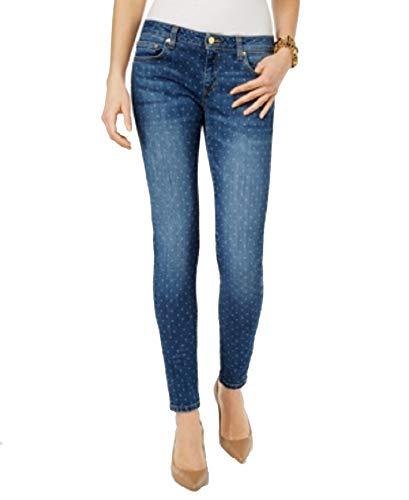 (Michael Michael Kors Petite Dot-Print Indigo Wash Skinny Jeans (Indigo, 6P))