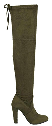 Forever Link Womens Stacked Chunky Heel Stretch Thigh High Pull On Boot Olive cy6ZfD6Ok