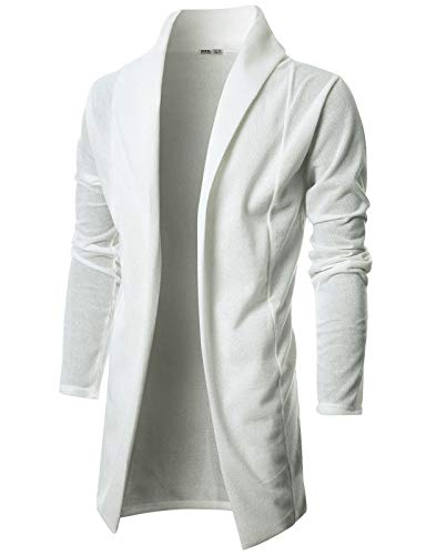 Ohoo Mens Long Sleeve Draped Lightweight Open Front Shawl Collar Longline Cardigan/DCC026-IVORY-XXXL