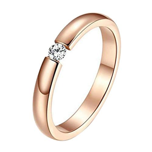 ♫VANSOON♫ Ring, 2019 New Exquisite Stylish Simplicity Single Diamond Rose Gold Surface Couple Rings Size 8-11
