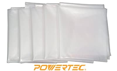 POWERTEC 70002 Clear Plastic Dust Collection Bag, 20-Inch Dia x 43-Inch , 5-Pack by POWERTEC