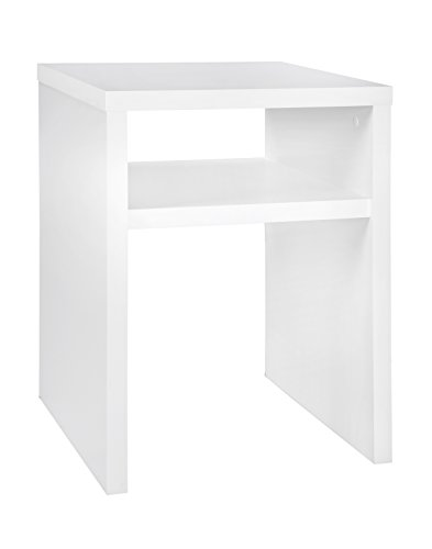 ClosetMaid 1656 2-Tier Square End Table with Storage Shelf, White (Cube Glass End Table)