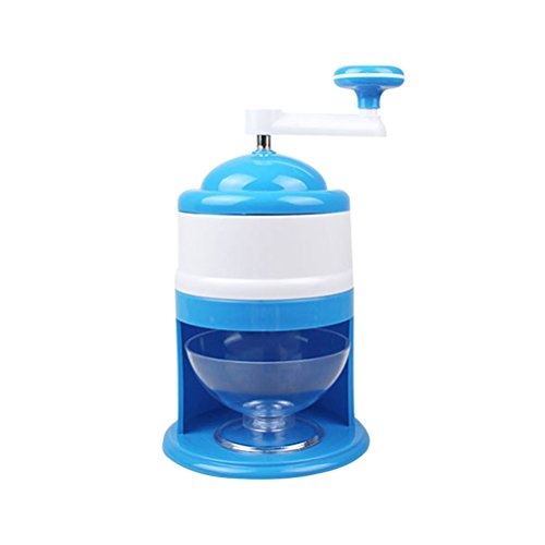 (Portable Household DIY Manual Ice Shaver Machine Ice Crusher Chopper Snow Cone Maker Essential Kitchen Tool Bar Accessory (Blue))