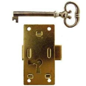 L-3B MEDIUM FLUSH MOUNT CABINET DOOR LOCK & SKELETON KEY BRASS PLATED (Skeleton Button)