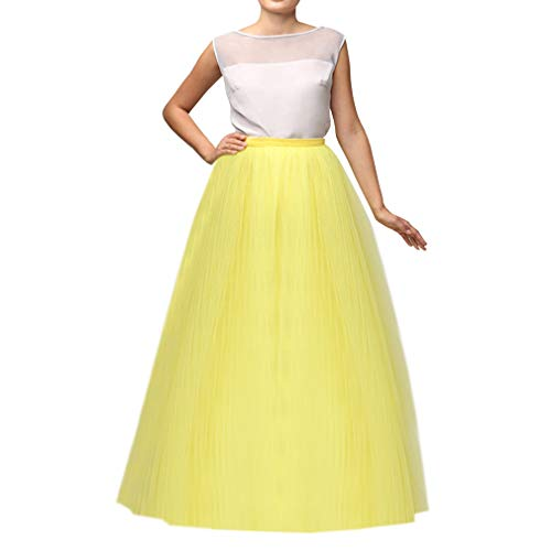 Wedding Planning WDPL Women's Long Tutu Tulle Skirt A Line Floor Length Skirts (Yellow, XXXXX-Large)