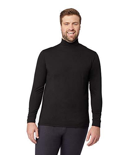 Mens Light-Weight Baselayer Mock Neck Top, Black, Size Large
