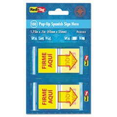"""-- Spanish Page Flags in Pop-Up Dispenser, """"FIRME AQUI"""", Red/Yellow, 100/PK"""