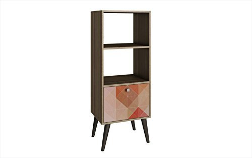 Manhattan Comfort Sami Collection Modern Sophisticated Tall Standing 1 Drawer and 2 Open Shelf Book Case, (Open Single Bookcase)