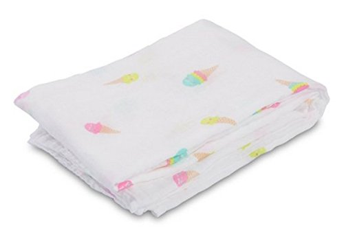 lulujo Baby Cotton Muslin Swaddling Blanket, Ice Cream Social, 47