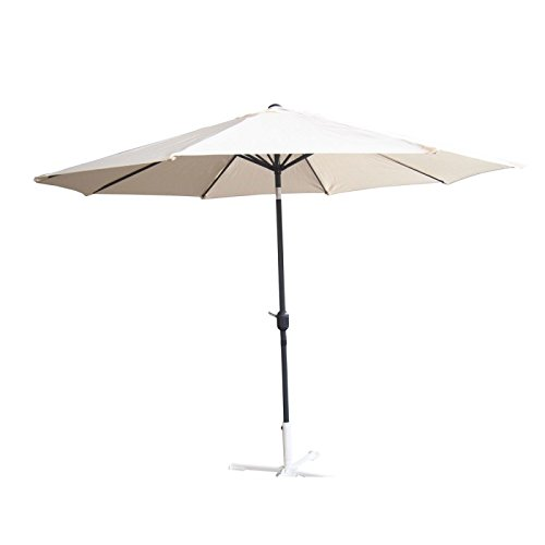 Palm Springs 10ft Aluminium Patio Umbrella w/ Tilt (Cream) Palm Umbrella Base
