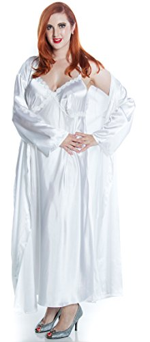 (Vx Intimate Women's Silky Nightgown With Venice Lace and Long Robe Set #60103049/X/XX (1X, White) )