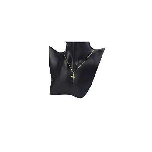 (DeScount Dainty Gold Cross Necklace,18K Gold Plated God Faith Cross Pendant Necklaces for Girls and Womens)