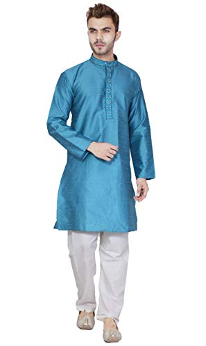 SKAVIJ Men's Silk Kurta Pyjama Set Anniversary Wear Dress (Large, Turquoise)