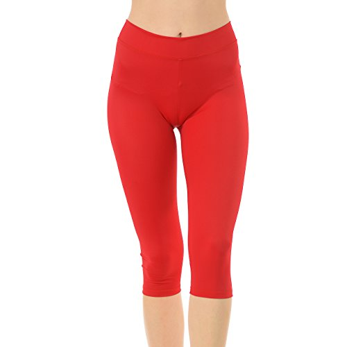 - Anza Girls Active Wear Gym Workout Yoga Dance Capri Leggings-Red,Large(12/14)