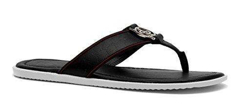 OPP Casual Men leather Flip Flops Flat Sandals Black 3G411