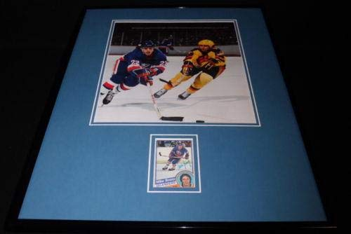 Mike Bossy Signed Framed 16x20 Photo Display NY Islanders B