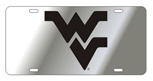 West Virginia Mountianeers Laser Cut Inlaid Mirrored Silver Plate w/Black WV ()