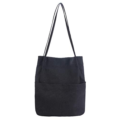 SteamedBun Canvas Tote Bag for Women Multi Pocket Shoulder Hobo Bags Casual beach Travel Purse (Black)
