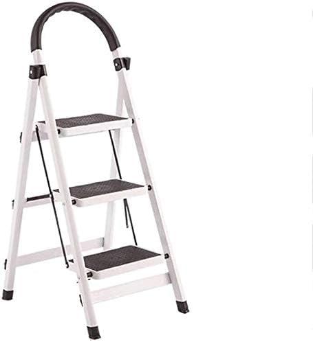 RFJJAL 3 Pasos de Escalera Plegable de Aluminio for Uso doméstico Taburete, Conveniente Foot Stool, Escalera de luz Interior y Exterior (Color : White): Amazon.es: Hogar