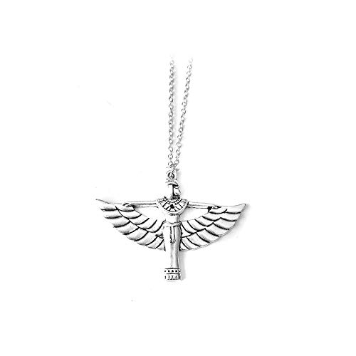 Joji Boutique Egyptian Collection: Antiqued Silver Winged Isis Goddess Necklace]()