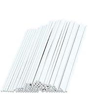 Plastic Lollipop Sticks, 100 Pcs White Paper Sticks Bake Shop Supplies