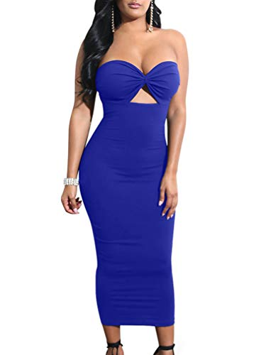 Cut Out Tube Dress - LAGSHIAN Women Sexy Bodycon Strapless Cut Out Ruched Tube Club Midi Party Dress RoyalBlue