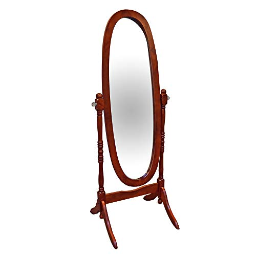 Bella E. 5014707 Cheval Oval Mirror with Crystal Knobs One Size Cherry