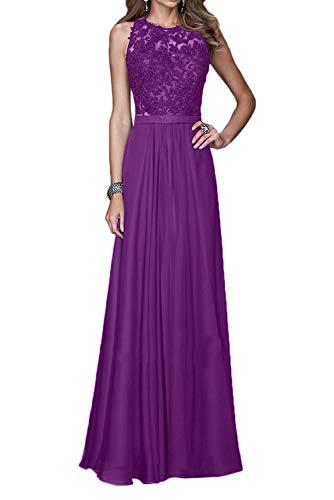 Marie Violett Linie Spitze Chiffon Lang Ballkleider Abendkleider Hundkragen Braut La A Schwarz Rock Brautjungfernkleider OPpwdOq