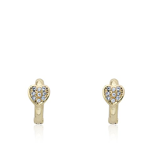 (Little Miss Twin Stars 14k Gold-Plated Huggy Earring - Hypoallergenic and Nickel Free For Sensitive Ears (Gold Heart))