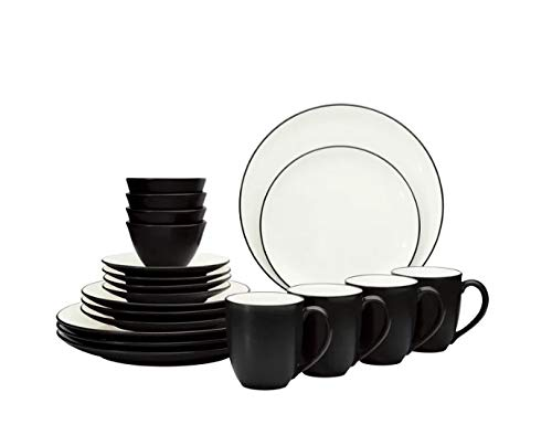 Noritake Colorwave Coupe 20-Piece Dinnerware Set in Graphite Made of durable stoneware, Microwave and dishwasher safe, Black ()