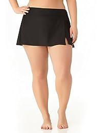 Catalina Women's Plus Size Black Skirted Swim Bottom