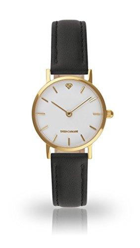 YVES CAMANI Léa Women's Wrist Watch Quartz Analog Black Leather Strap White Dial YC1098-B-756