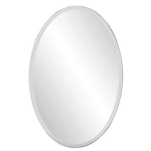 Howard Elliott Frameless Hanging Wall Mirror, Oval (24 x 36 Inch), Silver -