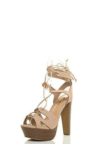 Breckelle's Womens Peep Toe Leg Wrap Lace Up Thick High Heel Pump Sandal Shoes Beige