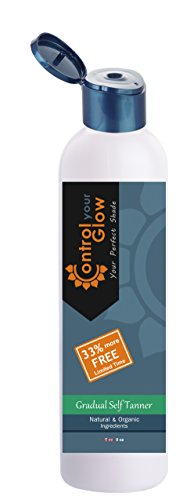 Gradual Self Tanner, Organic & Natural, Face & Body, Control Your Glow Gradual Tan by Bahama Tan, 8 oz, Streak Free, 33% More Free Bonus - Get an 8 oz Tanner Instead of 6 oz for Limited Time.