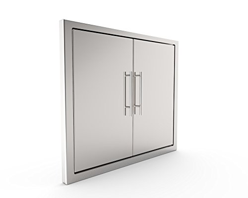 Access Side Panel (BBQ Grill Access Door/Elegant 31 Inch 304 Grade Stainless/Steel BBQ Island Grill/Outdoor Kitchen Access Doors Include Double Wall Construction & Convenient Built in Paper Towel Holder)