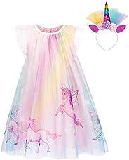 MetCuento Baby Girls Unicorn Rainbow Dress Sleeveless Birthday Playwear Toddler Girl Dresses