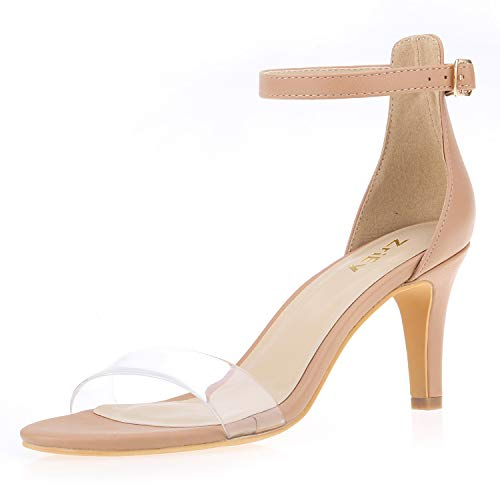 - ZriEy Women's Heeled Sandals Ankle Strap High Heels 7CM Open Toe Mid Heel Sandals Bridal Party Shoes Nude Clear Size 6.5