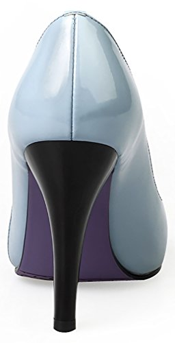Calaier Women Jtaao Pointed-Toe 10CM Cone Heel Slip-on Court Shoes Blue ytbeuMKz