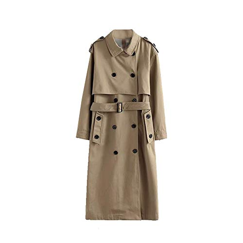 Women Classic Long Sleeve Double Breasted Belted Trenchcoat M ()