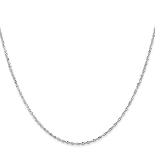 14k White Gold 1.1mm Singapore Chain Necklace 30'' by Venture Jewelers
