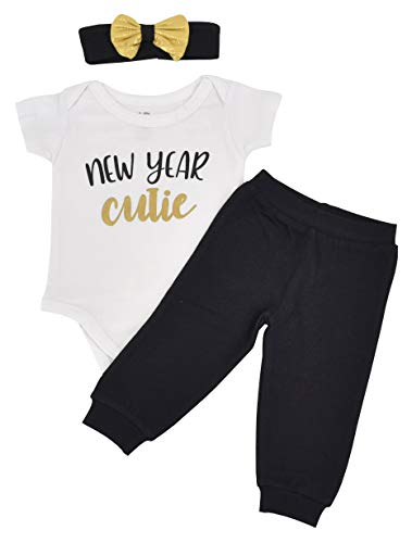 Unique Baby Girls New Year Cutie New Years Outfit Layette Set (9 Months) ()