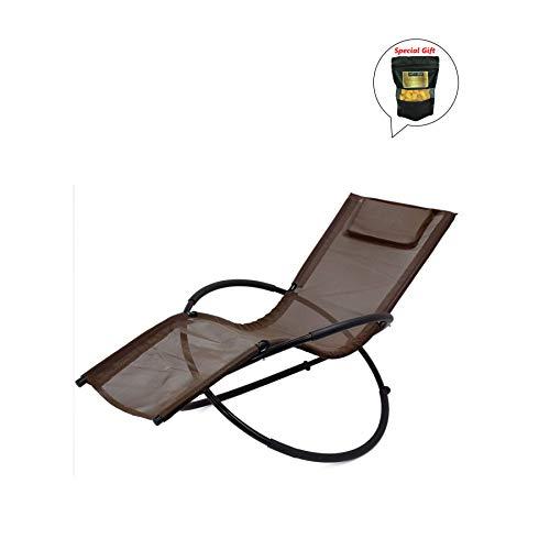 - allgoodsdelight365 Folding Orbit Zero Gravity Chair Patio Garden Lounger Rocking Outdoor (Brown) GET Organic Silkworm Cocoon