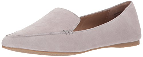 Steve Madden Women's Feather Loafer Flat, Grey Suede, 8 M US