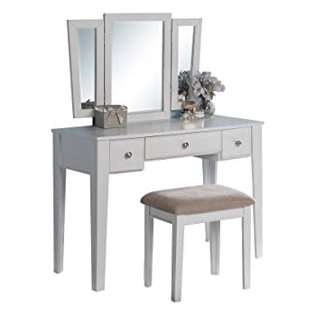 Amazon Com Poundex Bobkona Adar Vanity Set With Stool