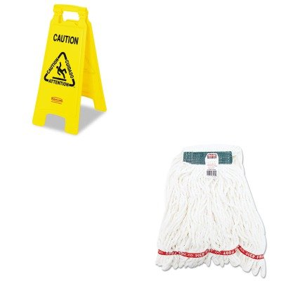 KITRCP611200YWRCPA21206WHI - Value Kit - Rubbermaid-Yellow Folding Floor Signs (RCP611200YW) and Rubbermaid Web Foot Shrinkless Looped-End Wet Mop Head ()