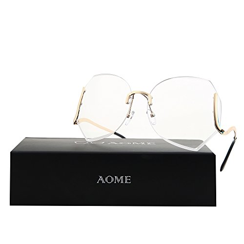 AOME Oversized Rimless Sunglasses,Vintage Gradient Cutting Clear Lens Eyeglasses (Gold&Clear, - Eyeglasses Designer Try On