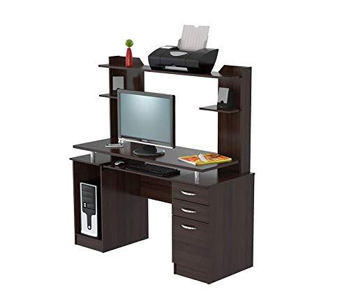 (Invаl Аmеricа Deluxe Premium Collection Computer Workcenter with Hutch Espresso-Wenge/Silver Decor Comfy Living Furniture)
